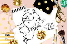Trumpeting Angel Coloring (Graphic) by Revidevi · Creative Fabrica Angel Coloring Pages, Coloring Books, Kids Graphics, Digital Stamps, Gift Cards, Making Ideas, Craft Projects, How To Draw Hands, Card Making