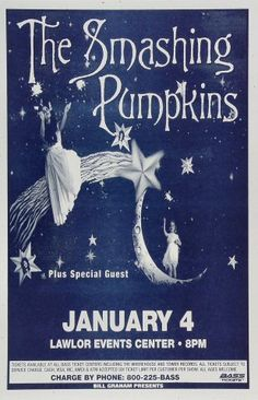 I like the look of this poster for The Smashing Pumpkins. It is well laid out and designed. I like the illustration. Poster Love, Poster Shop, Gig Poster, Poster Prints, The Smashing Pumpkins, D'arcy Wretzky, Tour Posters, Band Posters, Rock & Pop
