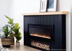Wall Mounted Fireplace, Build A Fireplace, Fireplace Built Ins, Small Fireplace, Bedroom Fireplace, Living Room With Fireplace, Fireplace Design, My Living Room, Fireplace Ideas