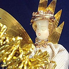 Koestel Wax Christmas Angel With Gold Tree Topper