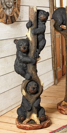 Three Bears in a Tree Sculpture – Large – Schnitzerei Chainsaw Wood Carving, Wood Carving Art, Wood Art, Wood Carvings, Black Bear Decor, Black Forest Decor, Art Sculpture En Bois, Wood Stone, Tree Art