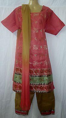 "PURE COTTON Salwar Kameez NEW Dress   Sm 763 Pink Khaki BUST 48"" #01199"