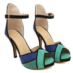 Color Block Design Suede Sandals For Women