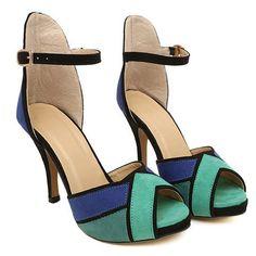 Color Block Design Suede Sandals For Women