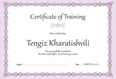 Modern Purple Training Certificate Template