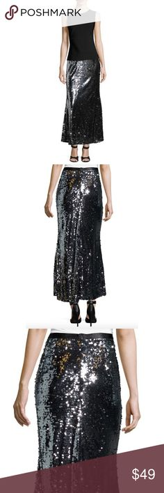 "Carmen Marc Valvo Metallic Sequined Ball Skirt Carmen Marc Valvo Metallic Sequined Fishtail Ball Skirt🔸Sz 2 🔸Carmen by Carmen Marc Valvo🔸High waist🔸sequin maxi skirt🔸Lined🔸Zips in back🔸100% Polyester🔸New with tags! Originally $88!🔸Waist: 12.75"" across the front, lying flat🔸Length: 40"" from middle top to bottom hem Carmen Marc Valvo Skirts"