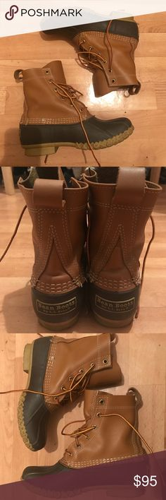 "Women's L.L.Bean Boots, 8"" Pre owned in Tan/Brown. Pretty good condition. Size 7. The original L.L.Bean Boot, made in Maine since 1912.  Made from premium full-grain leather that sheds rain and snow. Triple stitched in Maine, one pair at a time. Supportive steel shank and our original rubber chain-tread bottom. Treated with the water-resistant protection you need in cold, wet weather. L.L. Bean Shoes Winter & Rain Boots"
