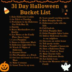 bucket list movie Halloween Bucket List: 31 Things to Do in October 2014 - Twin Tested, Pin Approved - Halloween Inspo, 31 Days Of Halloween, Halloween Kostüm, Holidays Halloween, Halloween Treats, Halloween Movies List, Halloween Countdown, Halloween Cupcakes, Halloween
