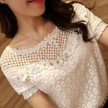 As mulheres Atam Camisa 2016 Magro Tops Bordado Frisado Pescoço Manga Curta de Crochê Oco Chiffon Blusa Blusas Femininas Plus Size 6XL(China (Mainland))