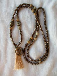 Charm- & Bettelketten - Lange Kette Buddha OM Jaspis bronze Quaste - ein Designerstück von Qulaju bei DaWanda