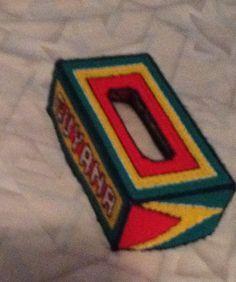 Cross stitch Guyana flag tissue box