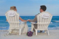 Cute bride and groom beach chairs to use! Photo by: @saltycowgirl