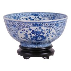 """Vintage Style Blue and White Floral Chinoiserie Porcelain Bowl 14"""" Diameter"""