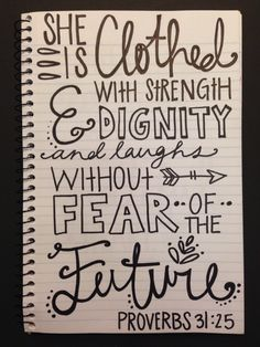 is clothes with strength and dignity. Scripture Art, Bible Art, Bible Verses Quotes, Bible Scriptures, Hand Lettering Quotes, Typography, Bible Notes, Christian Quotes, Inspirational Quotes