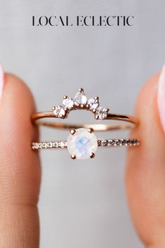 Rose Gold Moonstone Ring Stack La Kaiser does it again with another swoon worthy stack! Featuring a gleaming faceted rainbow moonstone set atop a shimmering pave band, and a matching stacking crown of mesmerizing white topaz. Wedding Ring Styles, Wedding Bands, Wedding Gold, Types Of Wedding Rings, Cool Wedding Rings, Wedding Ideas, Wedding Images, Wedding Favors, Wedding Flowers