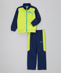 Take a look at this Lime Punch Zip-Up Jacket & Pants - Infant, Toddler & Boys by PUMA on #zulily today!