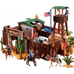 Playmobil Western - Western Fort and thousands more of the very best toys at Fat Brain Toys. Experience the Wild American West firsthand with the action-packed Playmobil Western Fort! Play Mobile, All Toys, Toys R Us, Toys For Boys, Children's Toys, Forte Apache, Playmobil Sets, 1970s, American Frontier