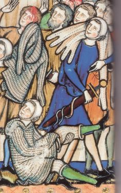 detail of folio 3 showing padded tunic, surcoate and surcoate with mittens. Also padded quisses. Maciejowski Bible (Morgan Picture Bible) as early as 1266.