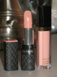 Love this nude lip --> Revlon ColorBurst Lipstick in Soft Nude and Super Lustrous Lip gloss in Peach Peta!
