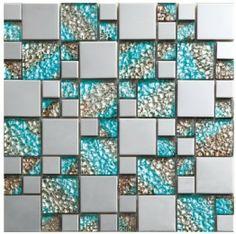 blue crystal glass silver mirror metal mosaics bathroom kitchen background wall mosaic tiles popular fashion  home improvement-in Mosaics fr...
