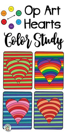 Students will love this! They can use their knowledge of color theory to make different color schemes on their op art hearts. See some tips on how to do this.