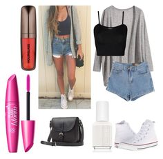 """Teen Fashion #3"" by littlemoon-19 ❤ liked on Polyvore featuring Converse, Chicnova Fashion, WearAll, Toast, Essie and Hourglass Cosmetics"