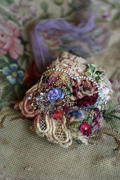 Antique rose romantic shabby chic wrist cuff by FleurBonheur.