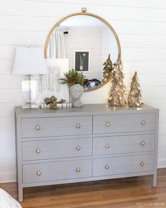 Christmas Bedroom, Christmas Home, Christmas Decor, Elegant Christmas, Off White Bedrooms, Birch Christmas Tree, Oak Bookshelves, Herringbone Wallpaper, Driven By Decor