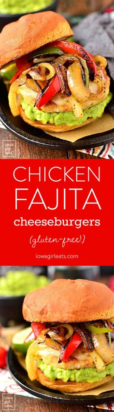 Chicken Fajita Cheeseburgers are a festive and fun gluten-free dinner recipe! Grill outdoors or in a skillet indoors. | iowagirleats.com: