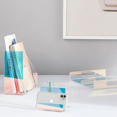 Keep your accessories neatly organized with the Acrylic Iridescent Desk Set, complete with a file holder, a magazine holder, a desk tray and a pencil cup. Staying organized hasn't ever been so clear! Desk Tray, Desk Set, Dorm Desk Decor, Room Decor, Teen Vanity, Teen Desk, Wide Bookcase, Dorm Storage, Led Shop Lights