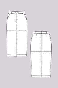 Polly Straight Skirt - Named Midi pencil skirt with front split and diagonal front pockets.