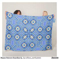 Mayan Unicorn Guardian Quilt Pattern Fleece Blanket