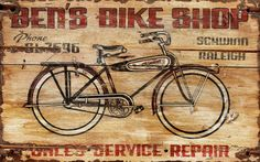 vintage bike shop sign
