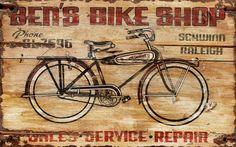 vintage bike shop sign