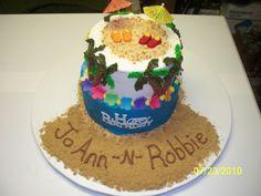 Birthday Luau Cake - Luau themed cake - chocolate w/ buttercream.  brown sugar sand, candy  flip flop & sun, fondant/gumpaste flowers (lei)