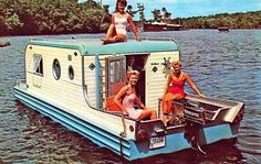 """The classic Aqua-Trail """"Terra Marina"""" was only in production for one year, from 1969-1970, and only 35 were ever made. This camping trailer doubled as a house boat, and was completely self-contained, to make towing it or rowing it a breeze."""