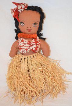 Vintage 1940's Hawaiian Hula Girl Doll Cloth Grass Skirt Hawaii Islands USA | eBay