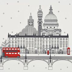 City of London Christmas Cards - Smythson Style- clean London Illustration, Travel Illustration, London Christmas, Things To Do In London, London Art, London Calling, British Isles, Doodle Art, Travel Posters