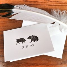 New to VeronicaFoleyDesign on Etsy: Bull and Bear Personalized Stationery for Men Fathers' Day Gift Ideas Financial Wall Street Stock Market 100% Cotton Savoy (18.00 USD)
