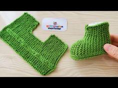 Very Easy Newborn baby booties socks pattern knitting 2 needle - Stricken Baby Booties Knitting Pattern, Booties Crochet, Crochet Baby Booties, Baby Knitting Patterns, Baby Patterns, Crochet Patterns, Knit Baby Shoes, Diy Crafts Knitting, Knitting For Kids