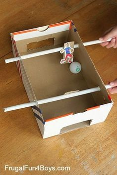 Make a Shoebox Foosball Game – Frugal Fun For Boys and Girls - Spielzeug und Stofftiere Kids Crafts, Soccer Crafts, Projects For Kids, Diy For Kids, Arts And Crafts, Shoebox Crafts, Easy Crafts, Easy Diy, Toddler Activities