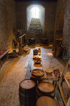 Dover Castle kitchens - barrels and heavy stone walls. Castles were necessary in Europe when there were not large walls or as much land between you and the next invading army. Maybe one pictures a brighter room for a Byzantine kitchen and not cooking away in a basement.