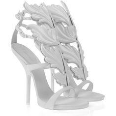Giuseppe Zanotti Sandals Women ($1,625) ❤ liked on Polyvore featuring shoes, sandals, heels, giuseppe zanotti, pumps, white high heel sandals, white leather sandals, white shoes, giuseppe zanotti sandals and white leather shoes