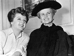 "Angela Lansbury and her mom Moyna MacGill between scenes of ""Kind Lady"" (1951)"