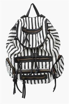 Jailbird Back Pack in Black/White // so on trend yet practical #stripes