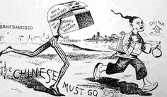 The Chinese Exclusion Act of 1882 banned Chinese from becoming U.S. citizens and had the effect of halting Chinese immigration; depicts anti-Chinese sentiment. Photo Credit: University of California at Berkeley.