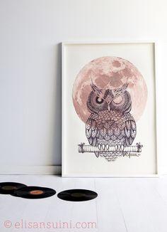 Owl, cornice - Elisa Ansuini illustrations