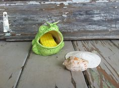 Retro Bright Green Kitchen Frog  Vintage by happydayantiques