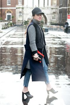 The 20 Best Street Style Looks from London Fashion Week, Fall 2014: Maddy Moxham (Harrods coat, &Other Stories bag, Zara waistcoat, Gap cap, Cos shoes)
