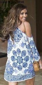 ZARA OFF SHOULDER BLUE/ WHITE PRINTED DRESS BOHEMIAN HIPPIE BOHO